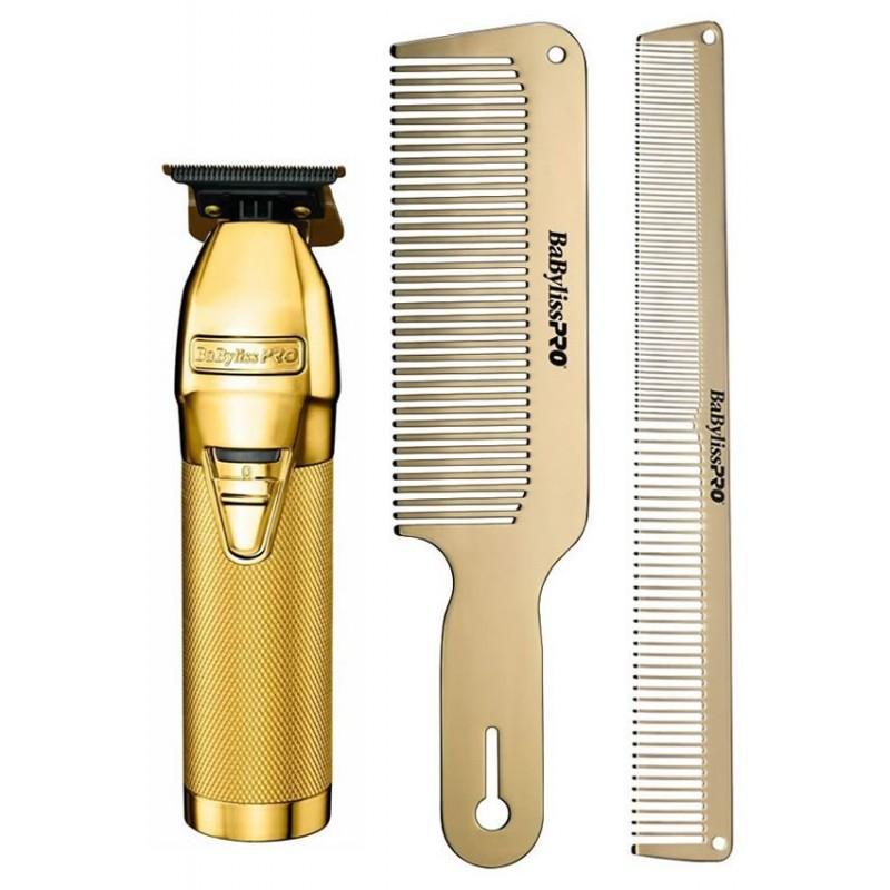 BabylissPro Gold Lithium Outliner Trimmer & Gold Comb Set Combo #FX787G/#BCOMBSET2G