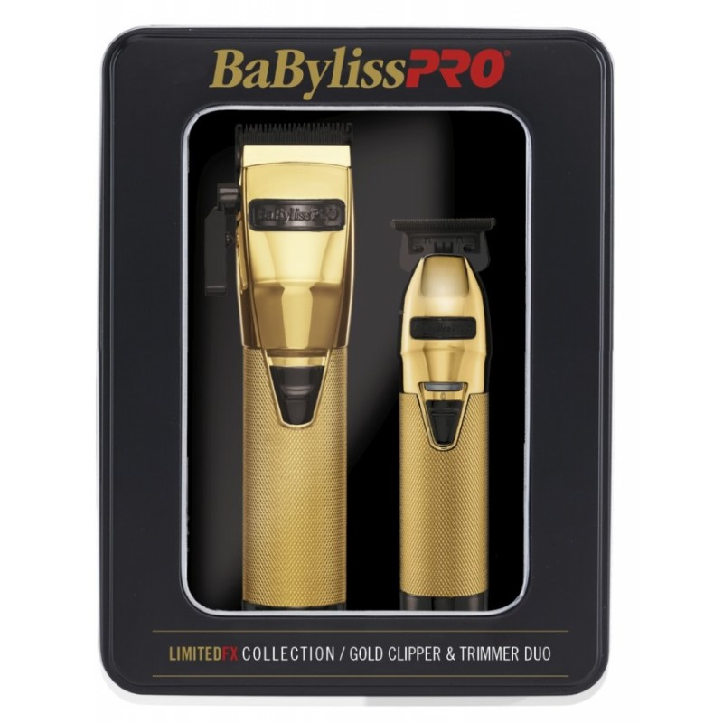 #FXHOLPK2GB BabylissPRO FX870GB & FX787GB Gold/Black Clipper & Trimmer Combo Box