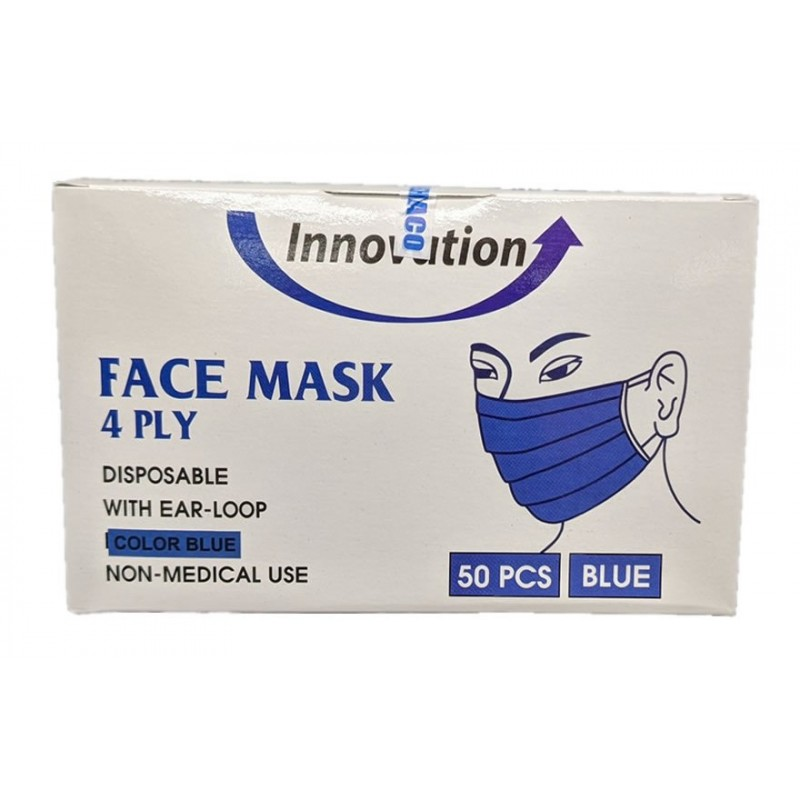 #20984  4-Ply Face Mask - Blue  50/bx